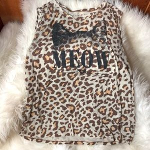 Tops - Leopard Print Kitty Tank Top